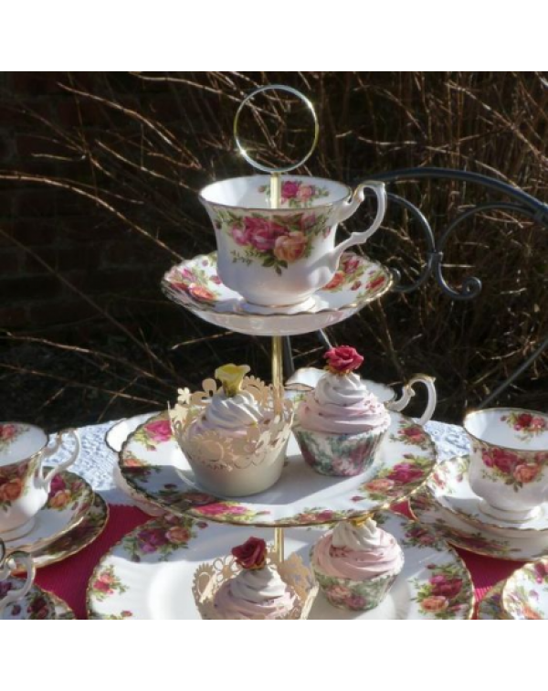 CAKE STAND TEA SET OLD COUNTRY ROSES